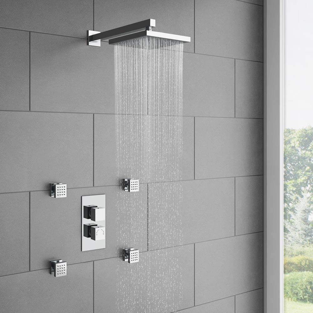 Milan Twin Square Concealed Shower Valve with Diverter - Chrome profile large image view 2