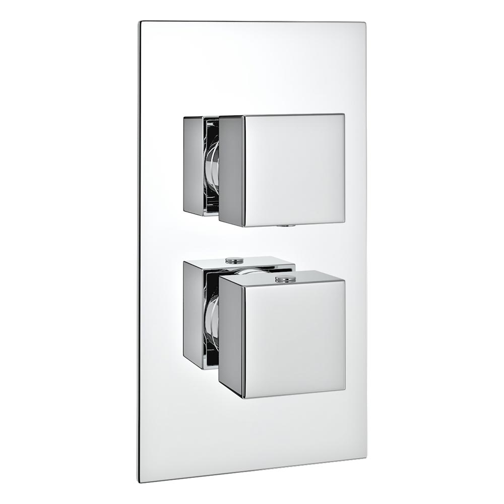 Milan Twin Square Concealed Shower Valve with Diverter - Chrome profile large image view 1