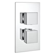 Milan Twin Square Concealed Shower Valve with Diverter - Chrome Medium Image