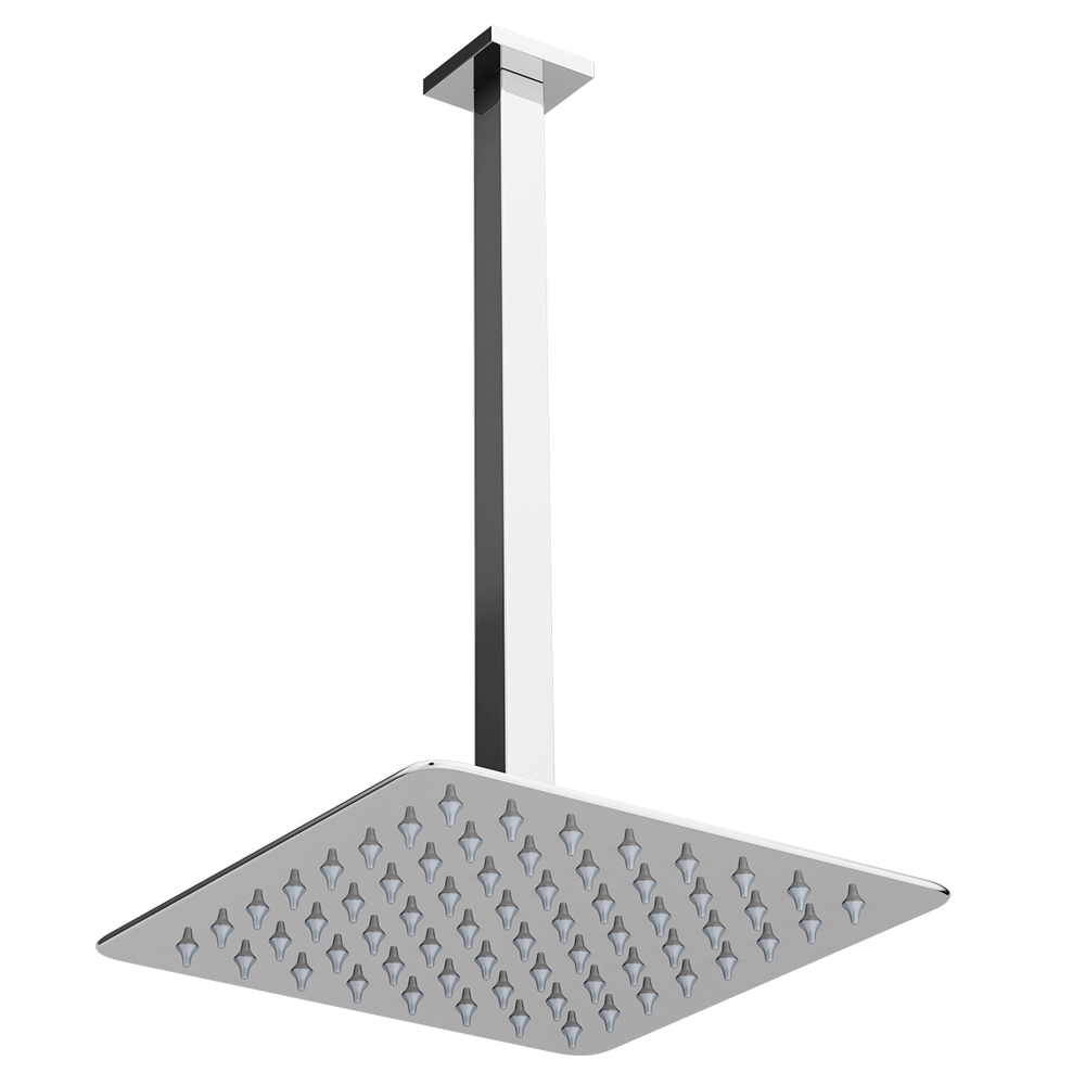 Milan Ultra Thin Square Shower Head with Vertical Arm - 200x200mm Large Image
