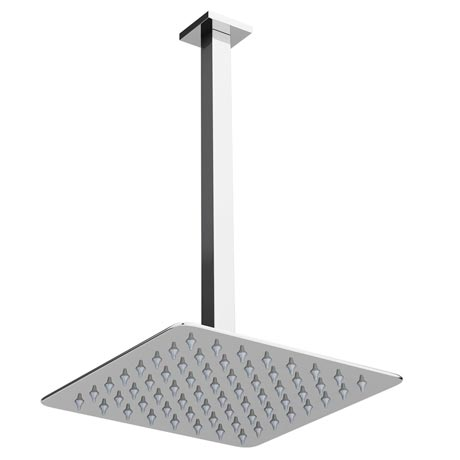 Milan Ultra Thin Square Shower Head with Vertical Arm - 200x200mm