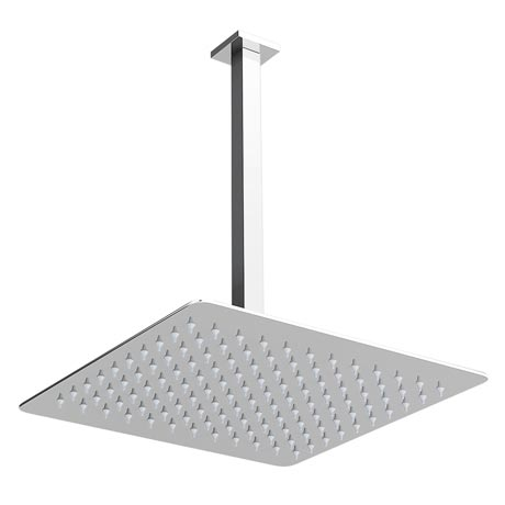 Milan Ultra Thin Square Shower Head with Vertical Arm - 300x300mm