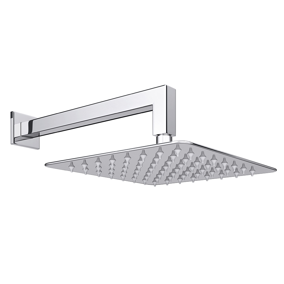 Milan Ultra Thin Square Shower Head With Wall Mounted Arm Online Now