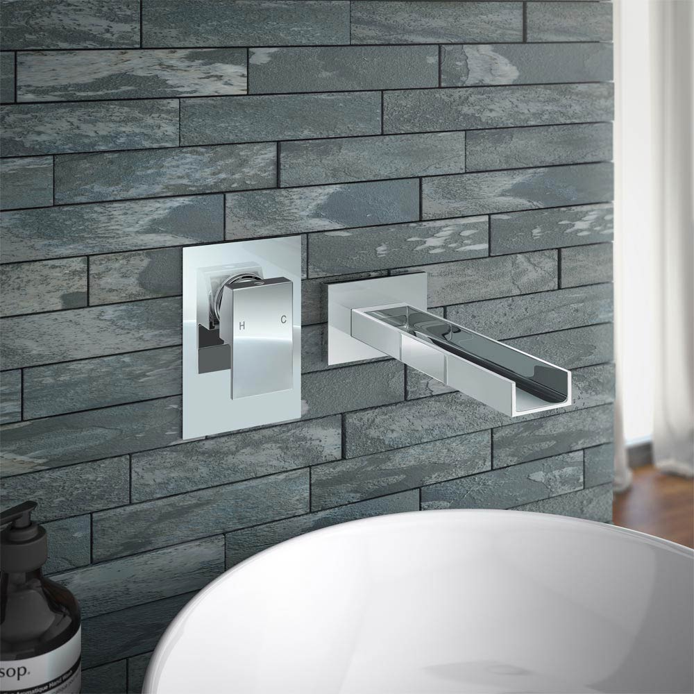 Milan Wall Mounted Waterfall Basin Spout with Manual Valve profile large image view 2