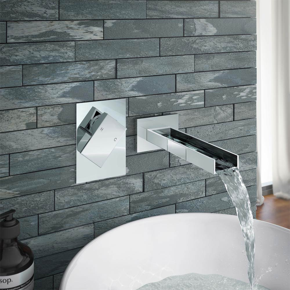 Milan Wall Mounted Waterfall Basin Spout with Manual Valve Large Image