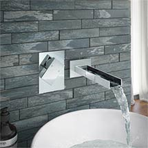 Milan Wall Mounted Waterfall Basin Spout with Manual Valve Medium Image