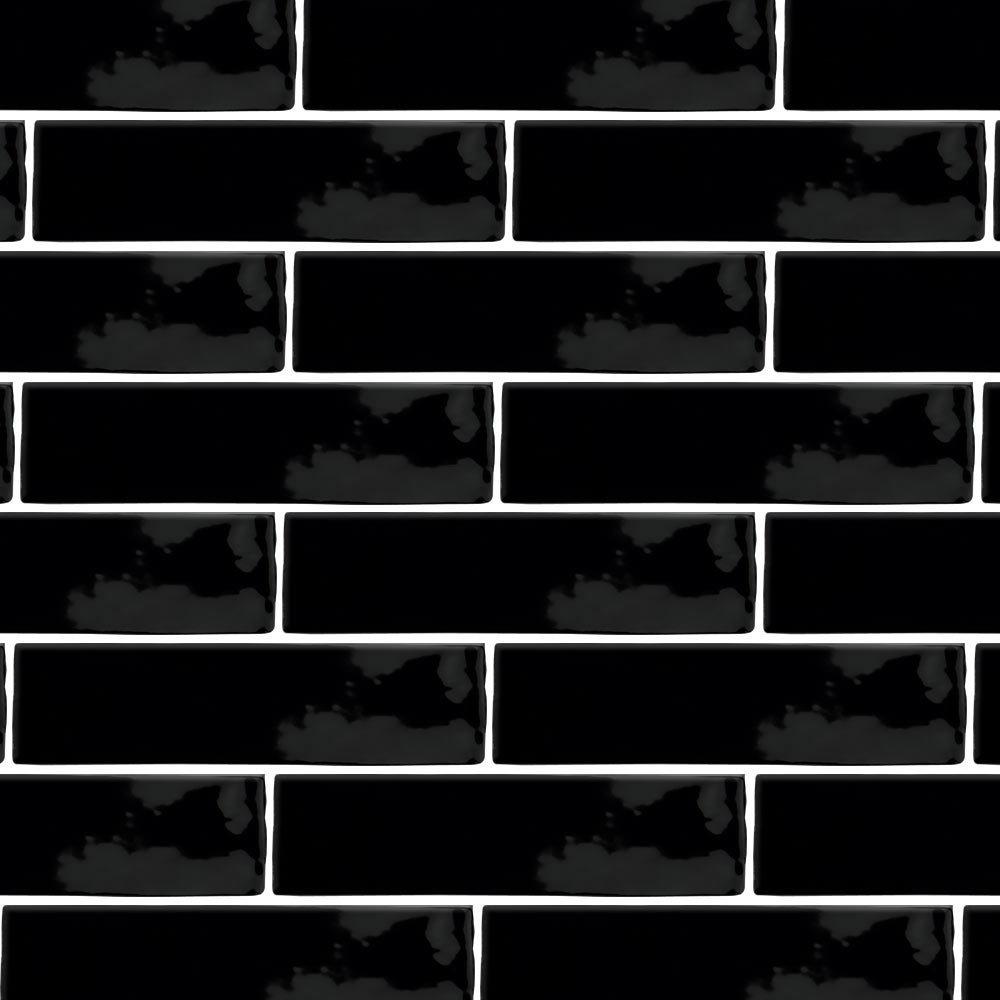 Mileto Black Gloss Ceramic Wall Tile - 75 x 300mm  Standard Large Image