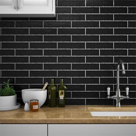 Mileto Black Gloss Ceramic Wall Tile 75 X 300mm Pack Of 25