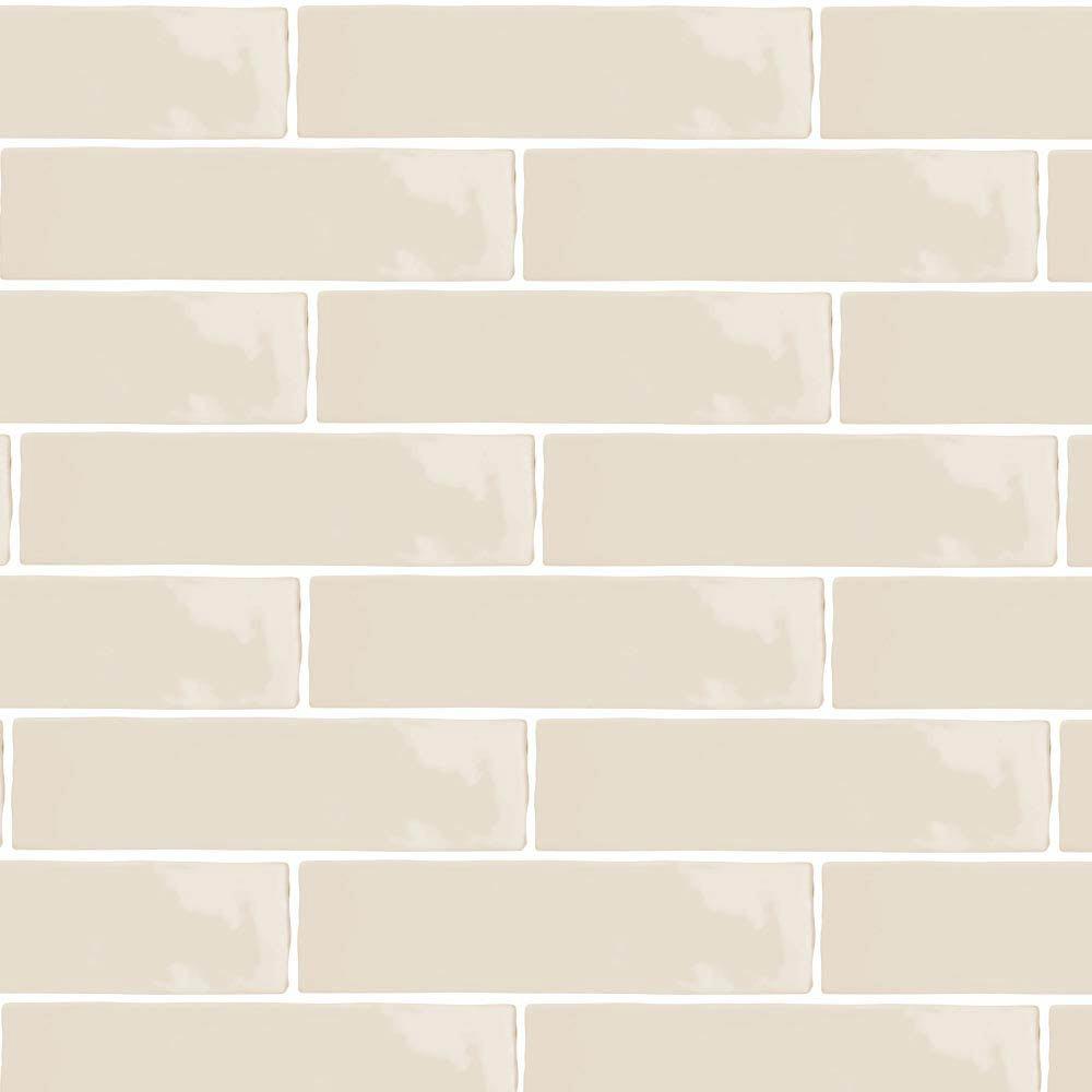 Mileto Brick Bone Gloss Ceramic Wall Tile - 75 x 300mm  Feature Large Image