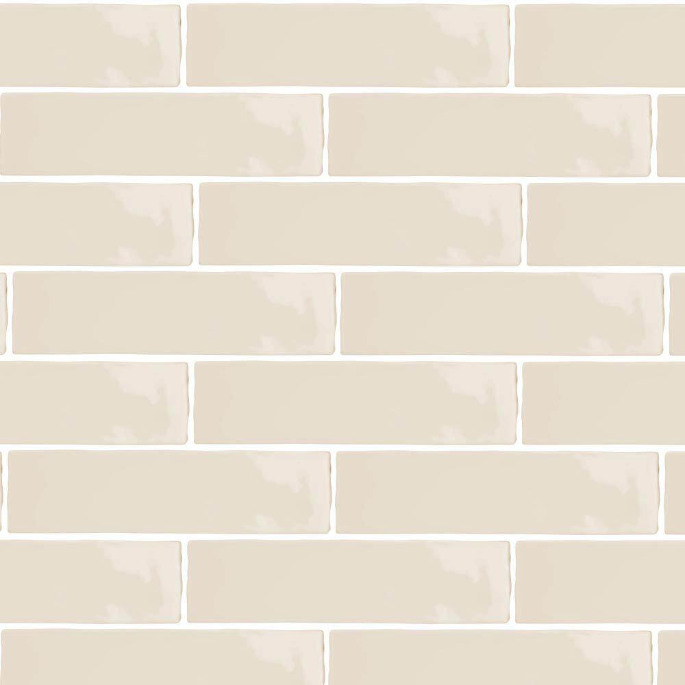 Mileto Brick Bone Gloss Porcelain Wall Tile - 75 x 300mm Large Image