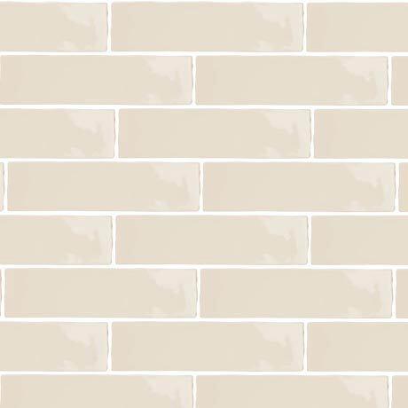 Mileto Brick Bone Gloss Porcelain Wall Tile - 75 x 300mm