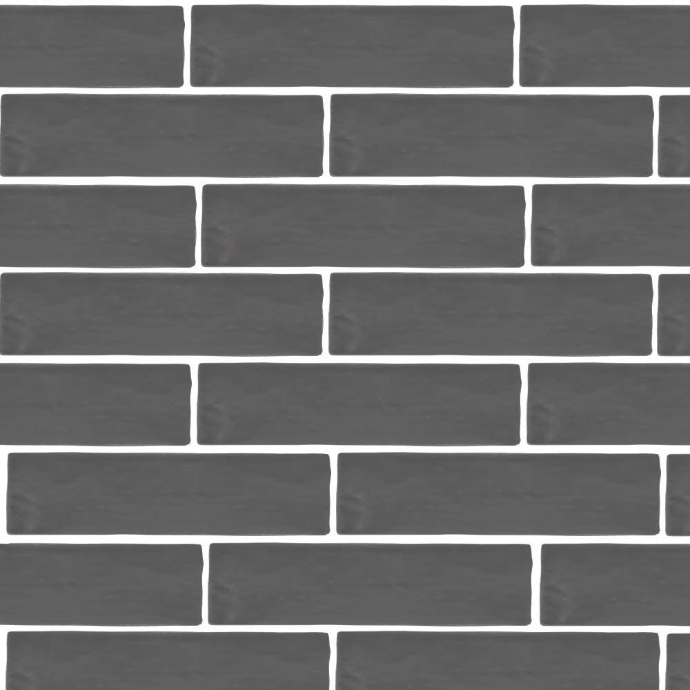 Mileto Brick Grey Gloss Ceramic Wall Tile - 75 x 300mm  Feature Large Image