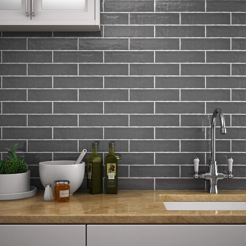 Captivating Mileto Brick Grey Gloss Ceramic Wall Tile   75 X 300mm Large Image