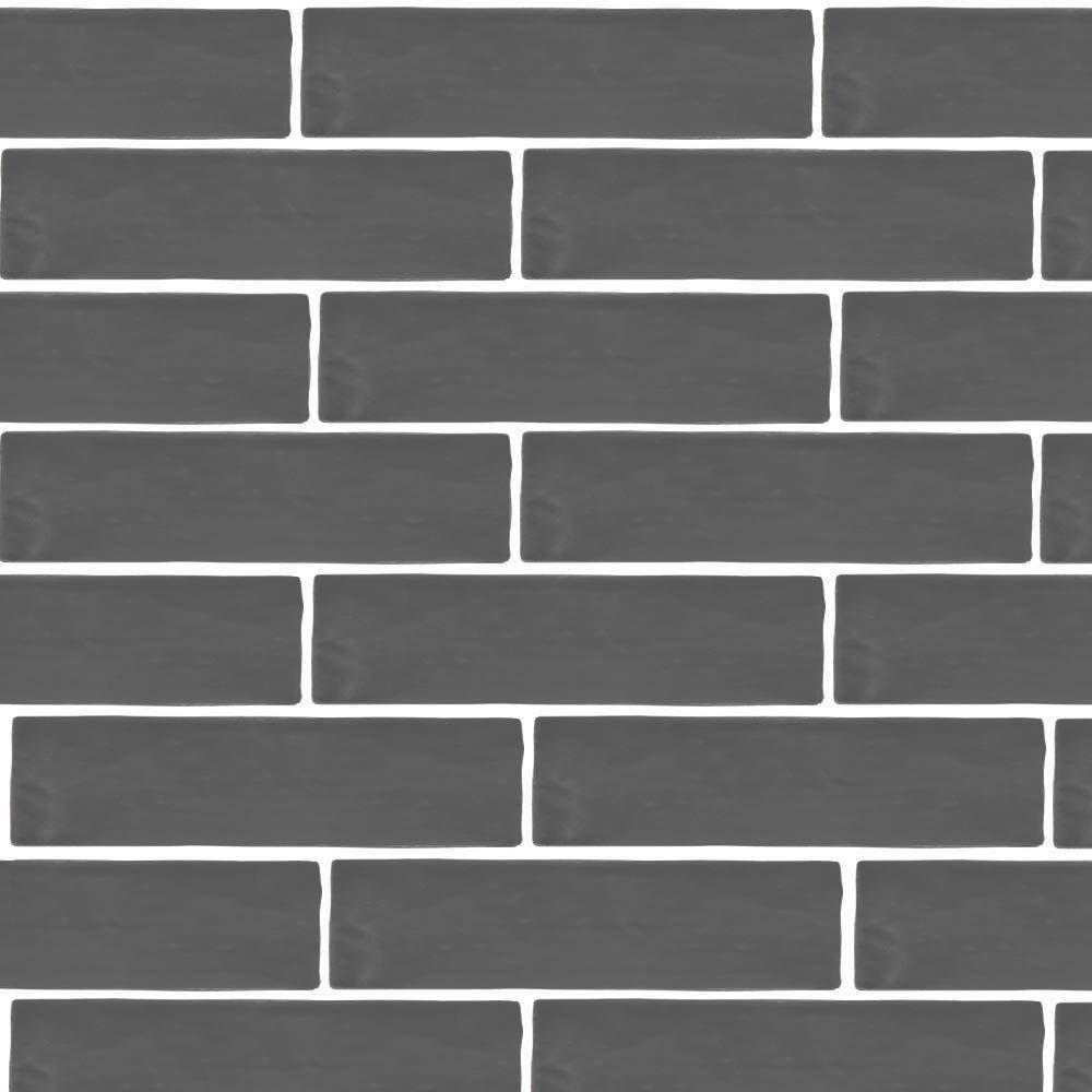 Mileto Brick Grey Gloss Porcelain Wall Tile - 75 x 300mm Large Image