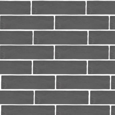 Mileto Brick Grey Gloss Porcelain Wall Tile - 75 x 300mm