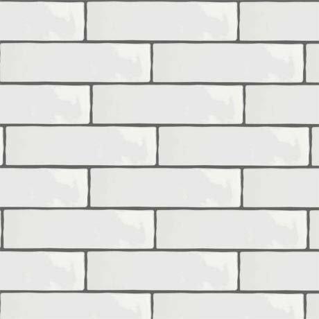Mileto Brick White Gloss Porcelain Wall Tile - 75 x 300mm