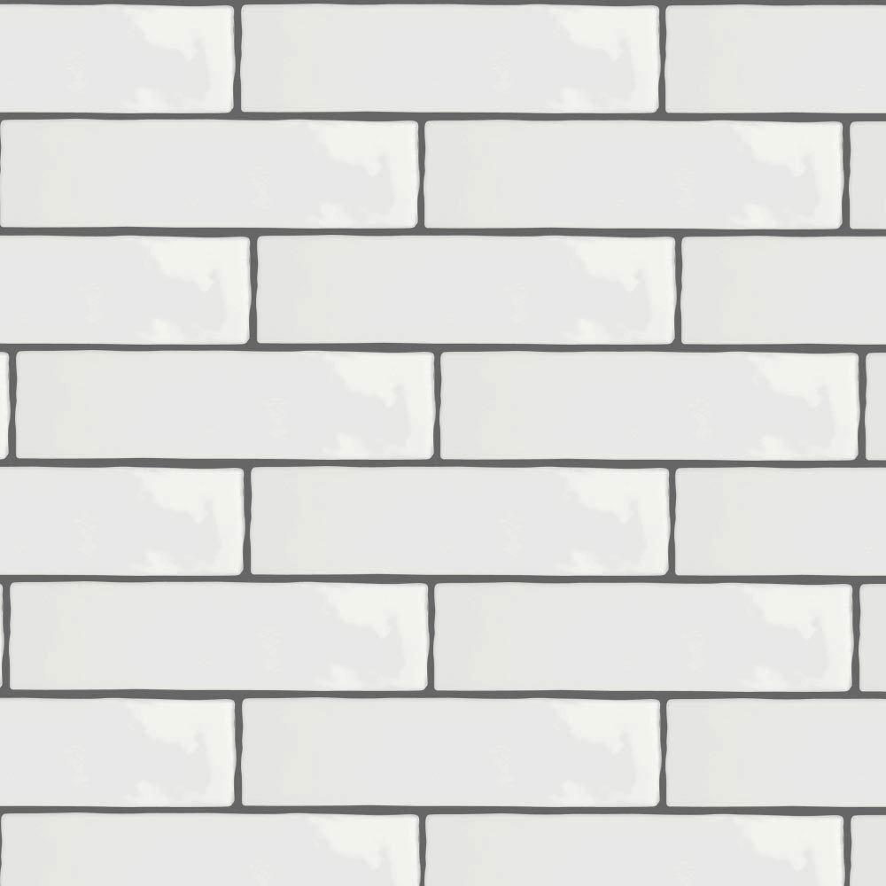Mileto Brick White Gloss Porcelain Wall Tile - 75 x 300mm Large Image
