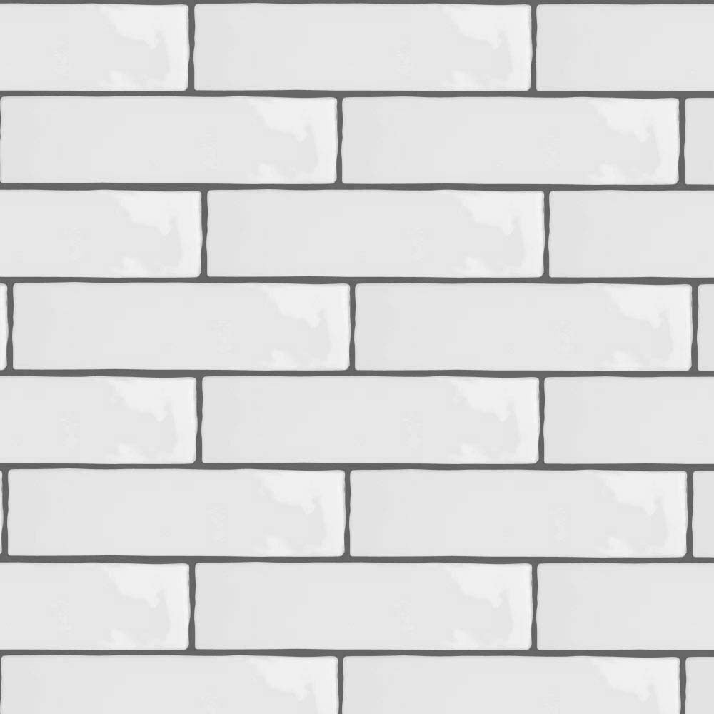 Mileto Brick White Gloss Ceramic Wall Tile - 75 x 300mm (Pack of 25)