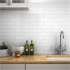 Mileto Brick White Gloss Ceramic Wall Tile - 75 x 300mm Small Image