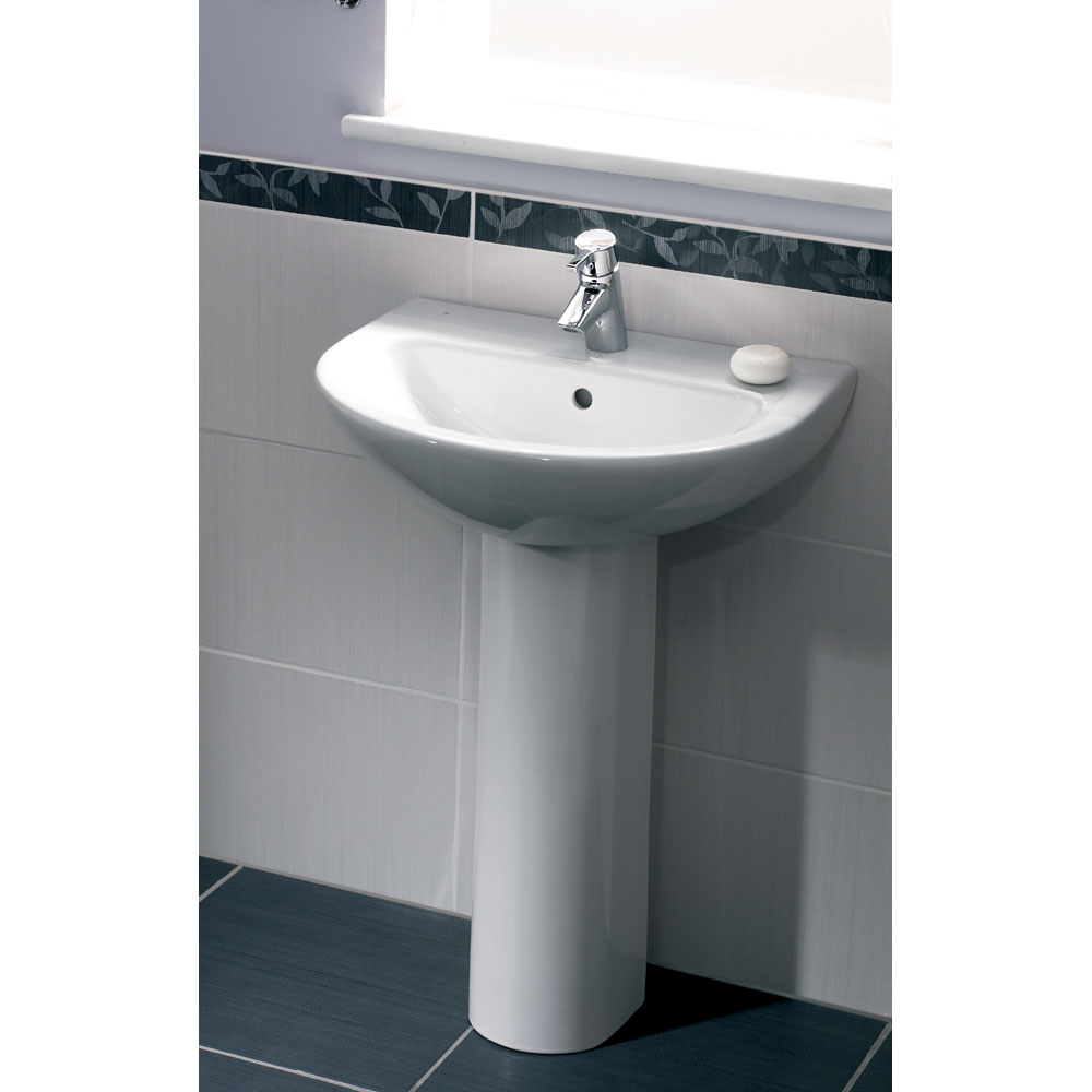 Vitra - Milton Basin and Pedestal - 1 Tap Hole - 2 Size Options Profile Large Image