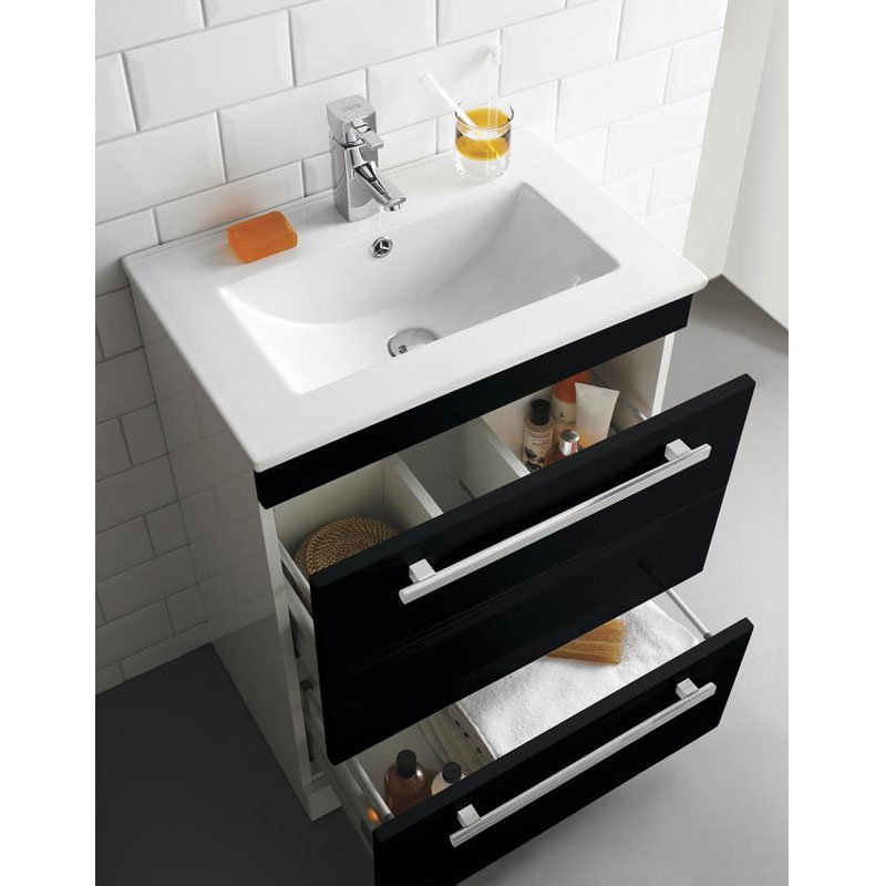Ultra Design 600mm 2 Drawer Floor Mounted Basin & Cabinet - Gloss Black - 2 Basin Options profile large image view 2