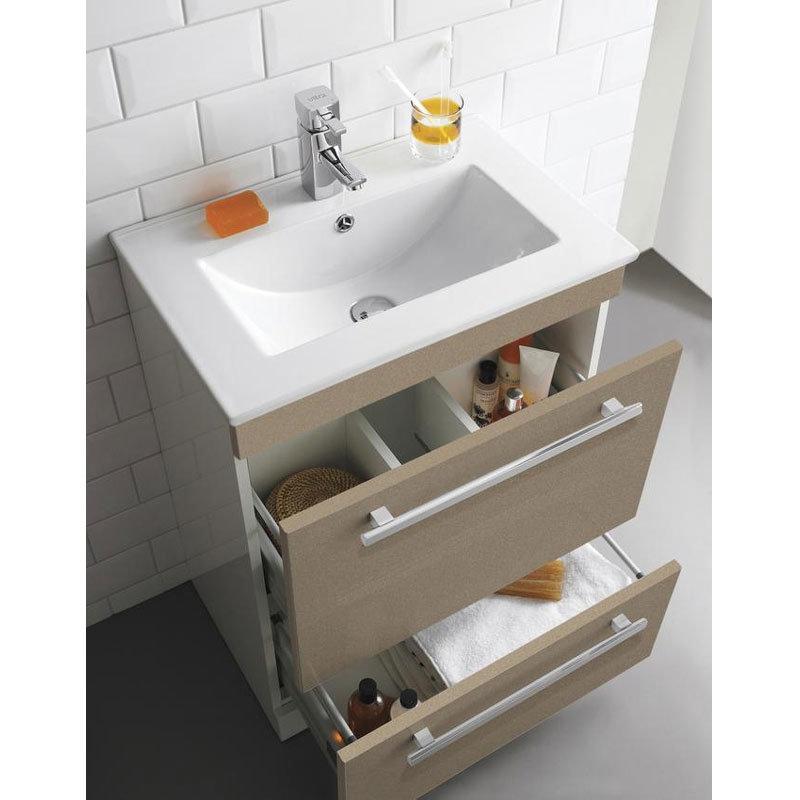 Ultra Design 600mm 2 Drawer Floor Mounted Basin & Cabinet - Gloss Caramel - 2 Basin Options Profile Large Image