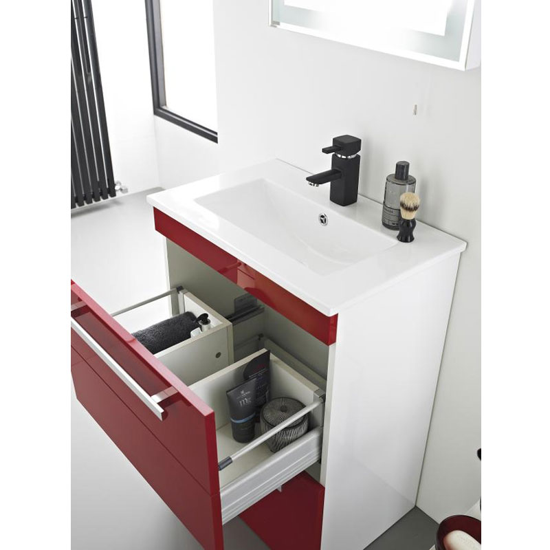 Ultra Design 600mm 1 Drawer Wall Mounted Basin & Cabinet - Gloss Red - 2 Basin Options profile large image view 2