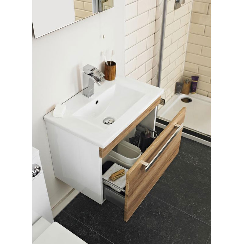 Ultra Design 800mm 1 Drawer Wall Mounted Basin & Cabinet - Natural Walnut - 2 Basin Options profile large image view 2