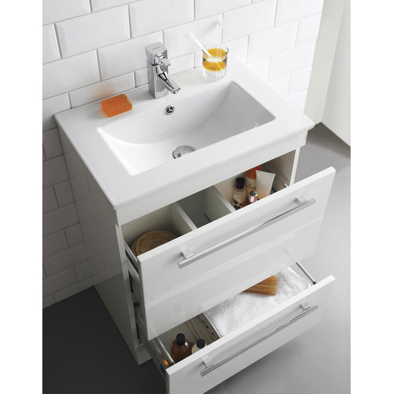 Ultra Design 600mm 1 Drawer Wall Mounted Basin & Cabinet - Gloss White - 2 Basin Options profile large image view 2