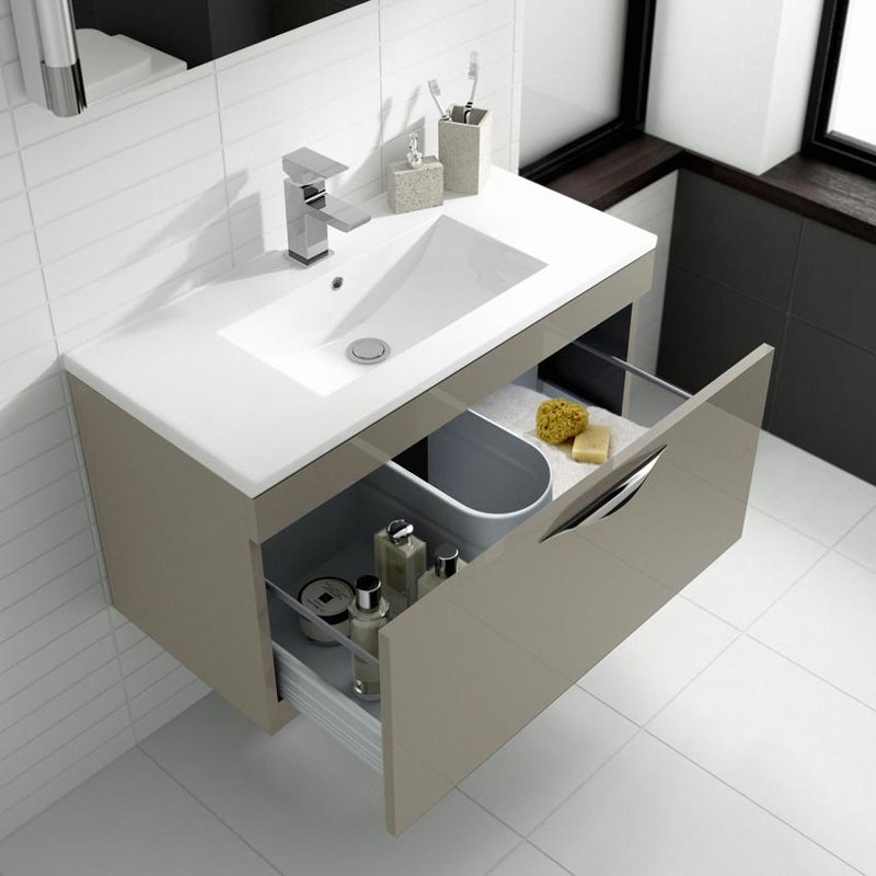 Hudson Reed Memoir 800mm 1 Drawer Wall Mounted Basin & Cabinet - Gloss Cashmere - 2 Basin Options profile large image view 2