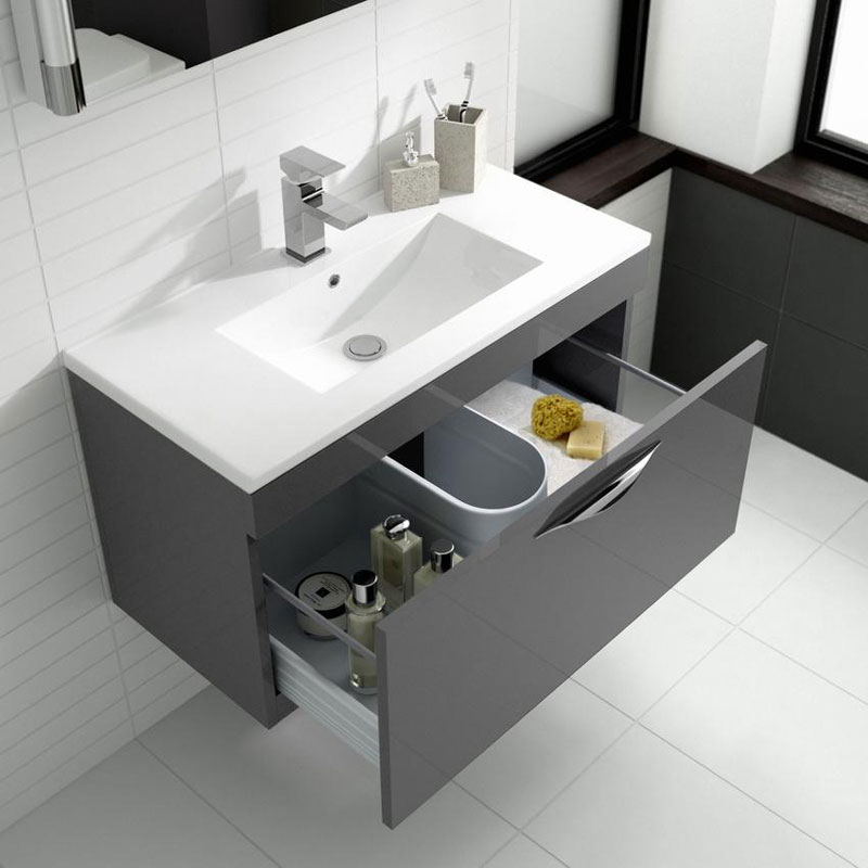 Hudson Reed Memoir 600mm 2 Drawer Floor Mounted Basin & Cabinet - Gloss Grey - 2 Basin Options Profile Large Image