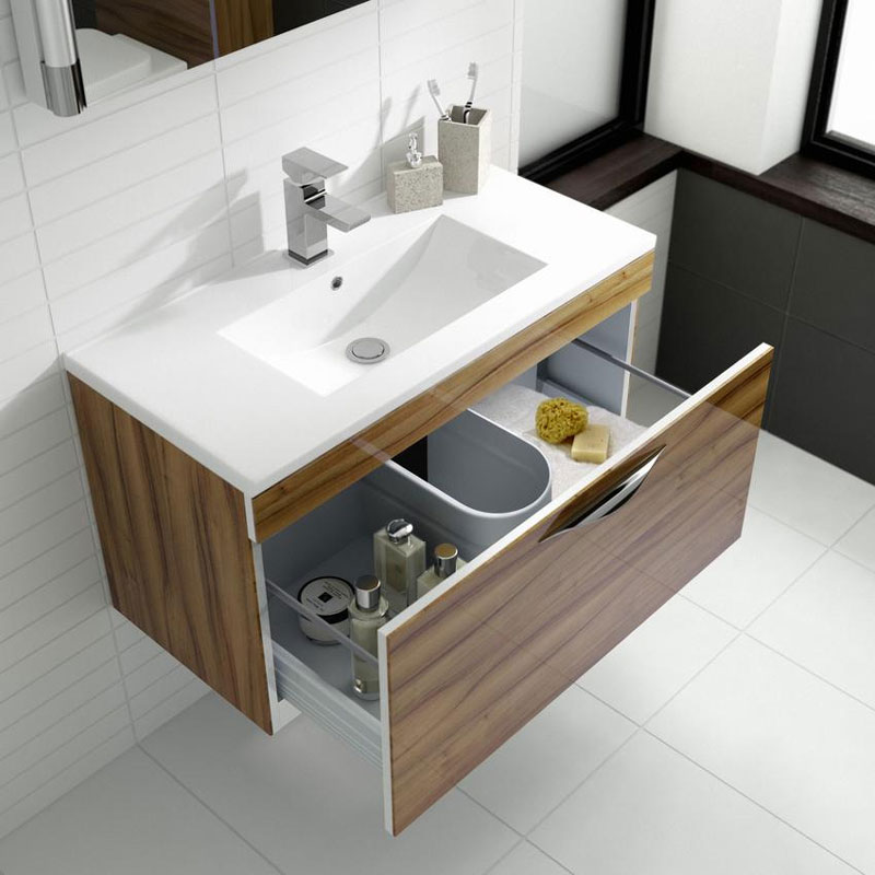 Hudson Reed Memoir 800mm 1 Drawer Wall Mounted Basin & Cabinet - Gloss Walnut - 2 Basin Options Feature Large Image