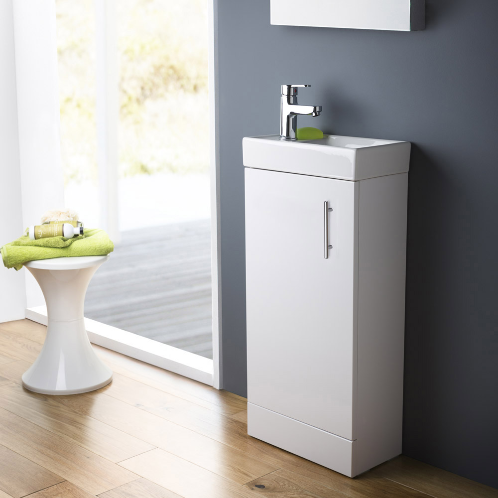 Minimalist Compact Floor Standing Vanity Unit + Knedlington Close Coupled Toilet profile large image view 4