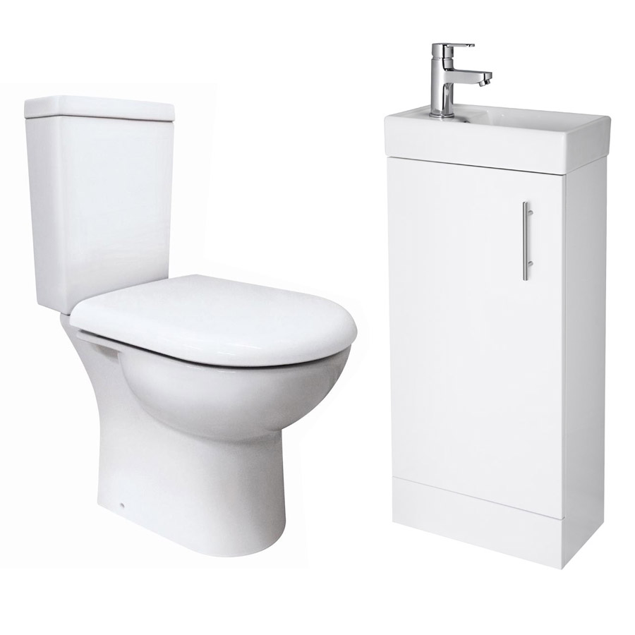 Minimalist Compact Floor Standing Vanity Unit with Knedlington Close Coupled Toilet Large Image