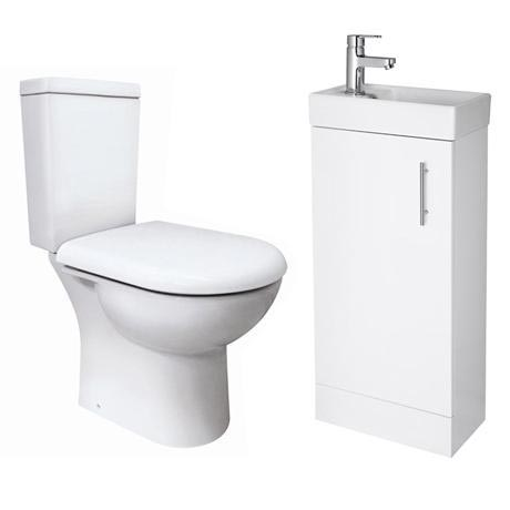 Minimalist Compact Floor Standing Vanity Unit with Knedlington Close Coupled Toilet