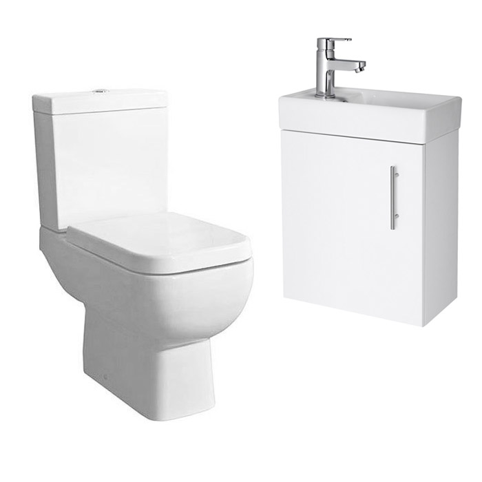 Minimalist Compact Wall Hung Vanity Unit with Series 600 Close Coupled Toilet Large Image