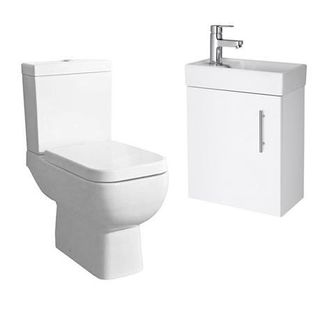 Minimalist Compact Wall Hung Vanity Unit with Series 600 Close Coupled Toilet