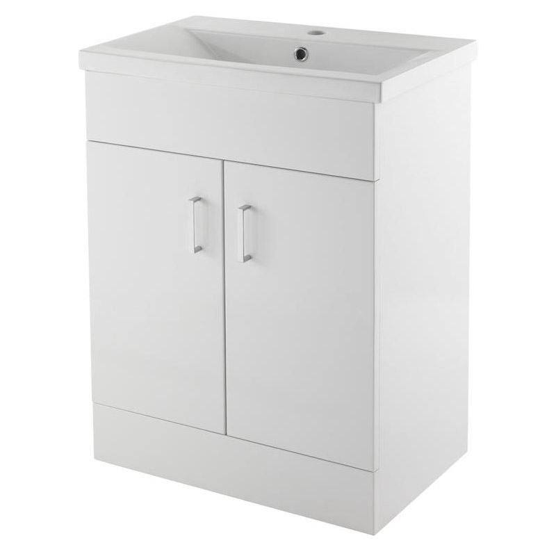 Minimalist Mid Edge Basin Gloss White Vanity Unit Bathroom Suite W1110 x D400/200mm profile large image view 2