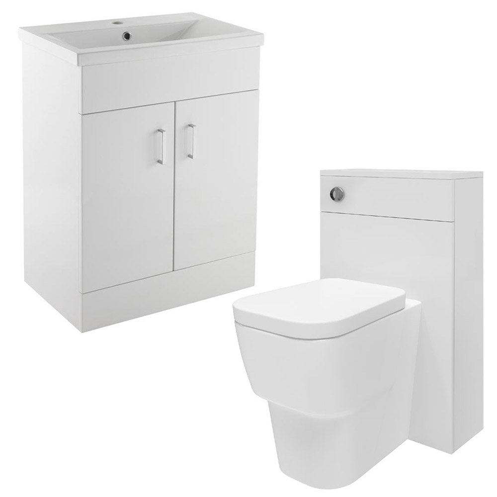 Minimalist Mid Edge Basin Gloss White Vanity Unit Bathroom Suite W1110 x D400/200mm profile large image view 1