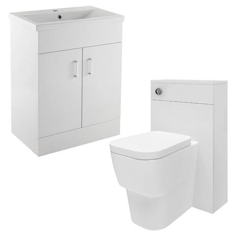 Minimalist Mid Edge Basin Gloss White Vanity Unit Bathroom Suite W1110 x D400/200mm