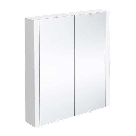 Turin 2-Door Mirror Cabinet (Minimalist White - 617mm Wide)