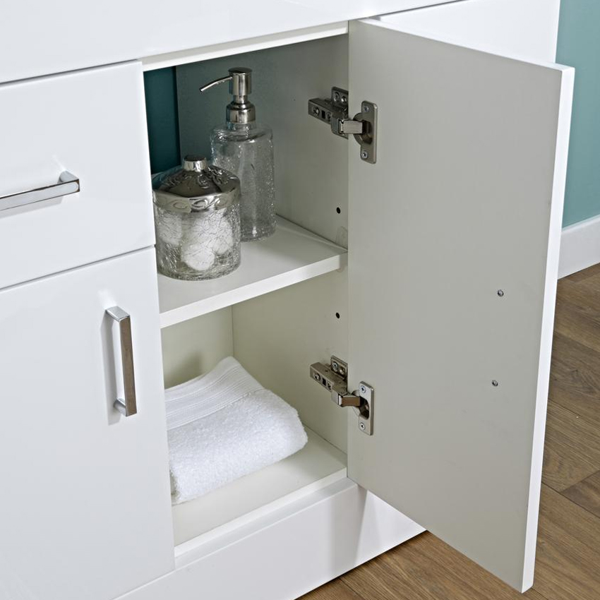 Turin Basin Unit - 1000mm Modern High Gloss White with Mid Edged Basin profile large image view 2