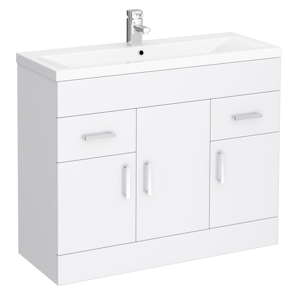 Turin Basin Unit - 1000mm Modern High Gloss White with Mid Edged Basin Large Image