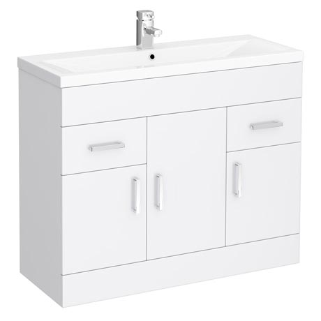 Turin Basin Unit - 1000mm Modern High Gloss White with Mid Edged Basin