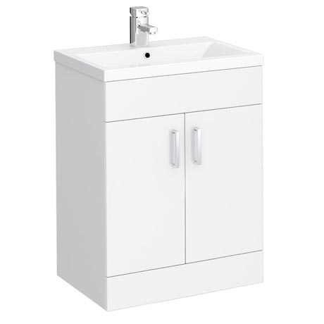 Turin Basin Unit - 600mm Modern High Gloss White with Mid Edged Basin