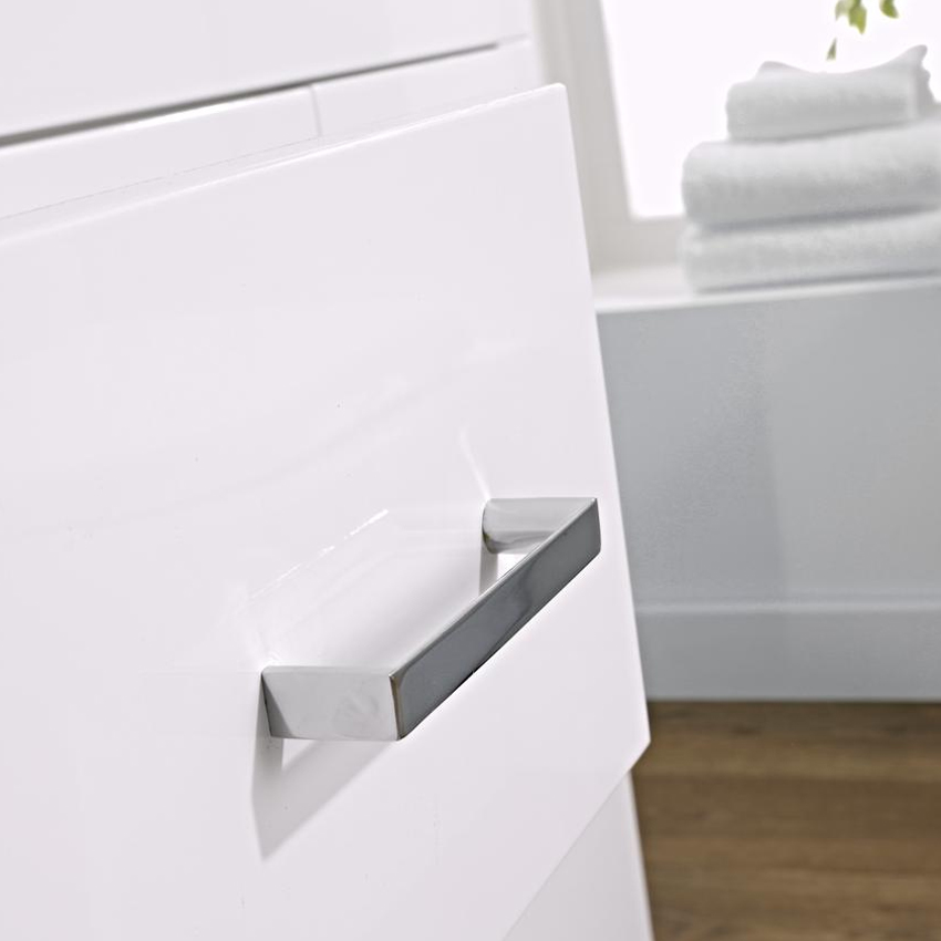 Turin Basin Unit - 800mm Modern High Gloss White with Mid Edged Basin In Bathroom Large Image