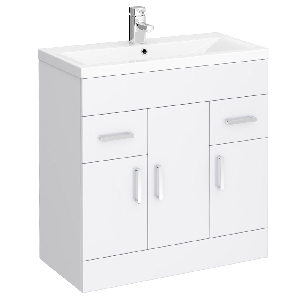 Turin Basin Unit - 800mm Modern High Gloss White with Mid Edged Basin Large Image