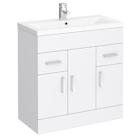 Turin Basin Unit - 800mm Modern High Gloss White with Mid Edged Basin