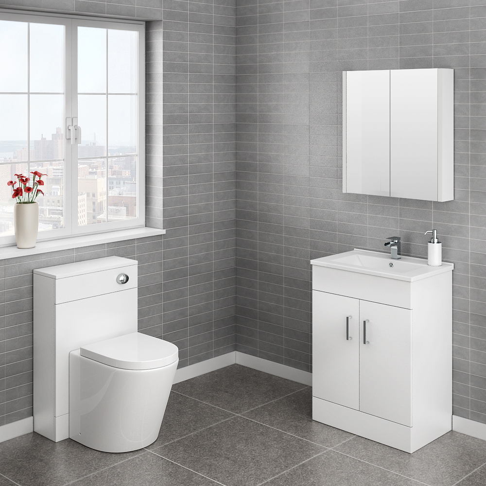 Turin Cloakroom Suite (White Gloss) Large Image