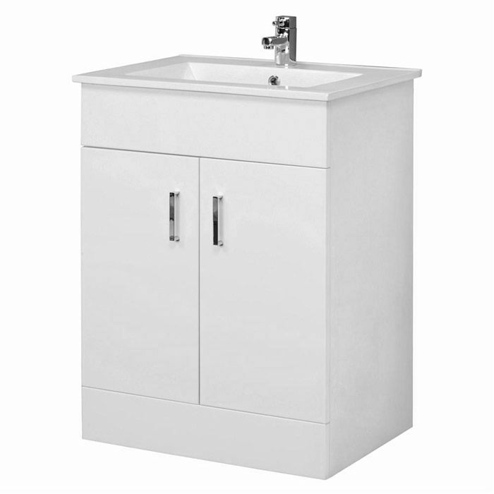 Turin Gloss White Vanity Unit Suite + Single Ended Bath - 3 Bath Size Options profile large image view 2